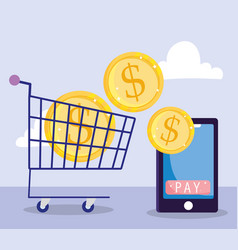 Online payment smartphone and coins in shopping vector