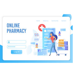 Online pharmacy flat landing page template vector