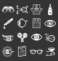 Ophthalmologist icons set grey vector