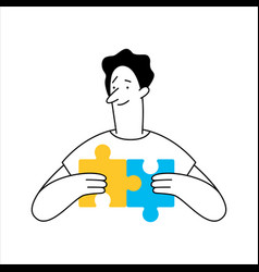 Outline cartoon man connecting puzzle elements vector