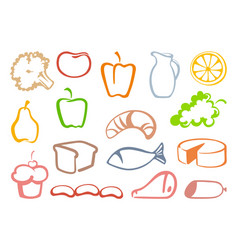 outlines food icons vector image