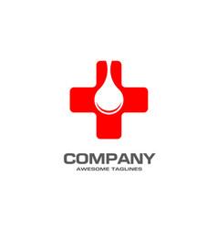 Pharmacy medicine with blood drop concept cross vector