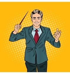 Pop Art Music Conductor Man with a Baton vector