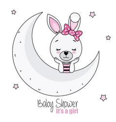 Pretty bunny girl on the moon vector