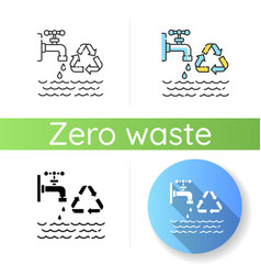 Reducing water use icon vector