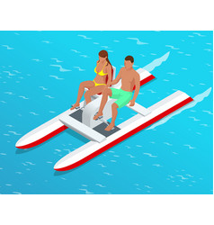 relax on paddle boat couple on pedalo also vector image