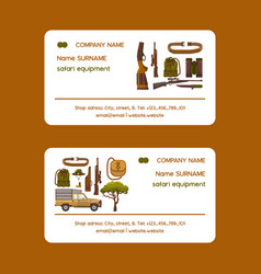 safari hunting equipment set business cards vector image