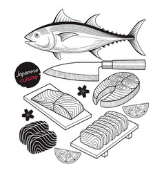 Salmon fish meat japan food doodle elements vector