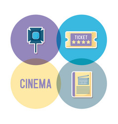 Set icons of cinema movie film vector