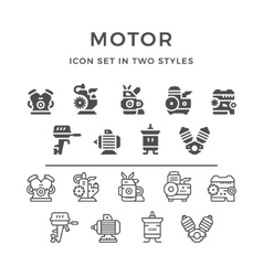 Set icons of motor and engine vector image