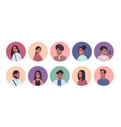 set indian men women avatars smiling male female vector image