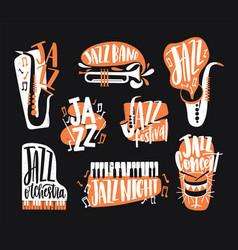 set jazz music lettering handwritten vector image