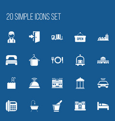 Set of 20 editable plaza icons includes symbols vector