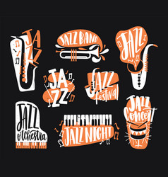 set of jazz music lettering handwritten with vector image