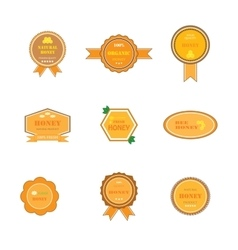 set of labels for honey products vector image