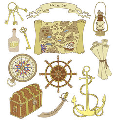 Set with pirate theme objects vector