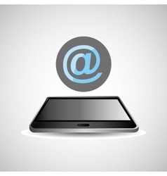 Smartphone black lying e-mail icon design vector
