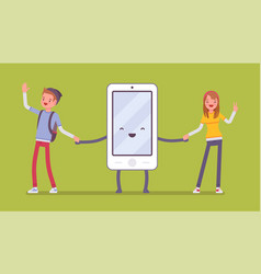 smartphone friendship with people vector image