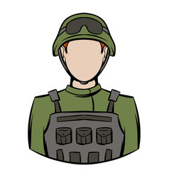 Soldier icon cartoon vector