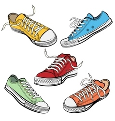 Sport shoes or sneakers icons in different views vector