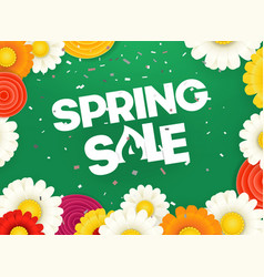 Spring sale banner photoreal with flowers vector