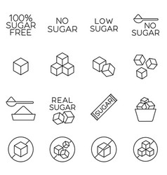 Sugar cubes line icons and free labels vector