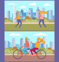 summer relaxation and fun tennis and cycling vector image