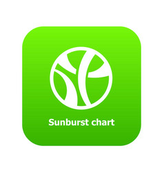 Sunburst chart icon green vector