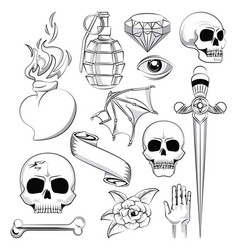 Tattoo studio old school drawings vector