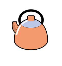 Teapot kitchen utensil object to cuisine vector