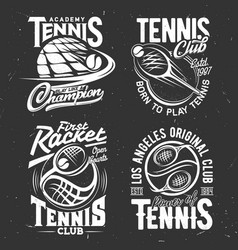 tennis sport tshirt prints rackets or balls vector image