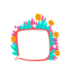 thought bubble decorated with summer plants and vector image