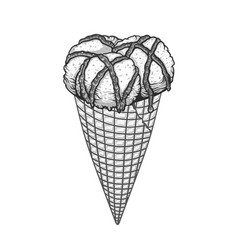 Three scoops of ice cream with chocolate sauce in vector