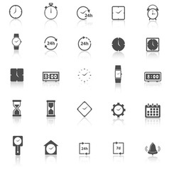 Time icons with reflect on white background vector image