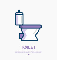 toilet icon with bowl vector image