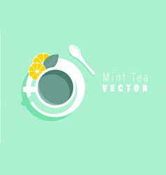 Top view of a cup with mint tea vector