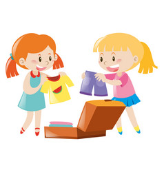 Two girls packing suitcase vector