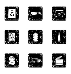 Types of waste icons set grunge style vector image