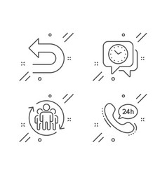 Undo clock and teamwork icons set 24h service vector