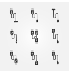 USB cables black icons vector