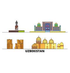 Uzbekistan flat landmarks vector
