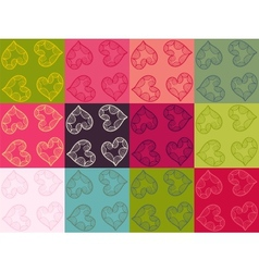 Valentine seamless pattern set vector image