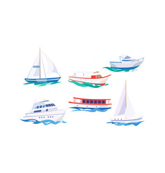 Water transport set yacht motorboat steamship vector