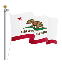 waving california flag isolated on a white vector image