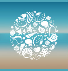 white seashell silhouette round concept vector image