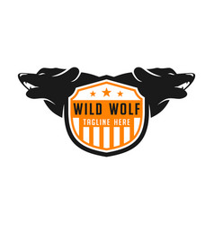 wolf shield logo design template vector image