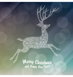 xmas white deer colorful background vector image