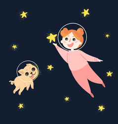 young girl and her dog in space wearing helmets vector image