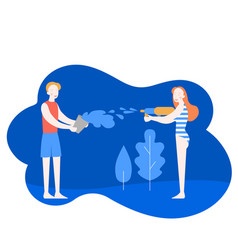 young man and woman having a water fight vector image