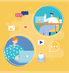 young man and woman using laptop social media apps vector image